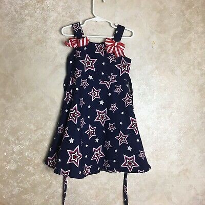 Jessica Ann Size 5 Red White And Blue Dress 4th Of July Holiday Girls Stars