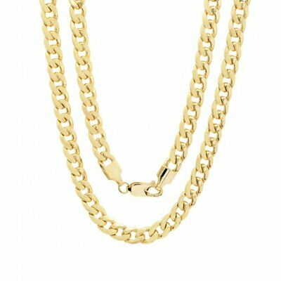 10K Solid Yellow Gold Cuban Link Chain Necklace 16- 30 Mens Women 1-5mm