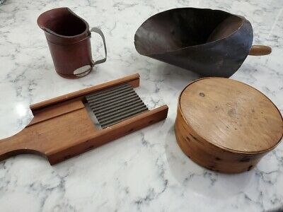 Lot of 4 Primitive Kitchen Antiques - Scoop Pitcher Grater - Pantry Box-Nice