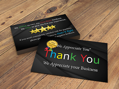 Thank you cards for eBay seller printed both side Fast Free Shipping 100