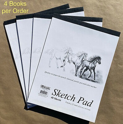 4 Bazic Premium Sketch Pad Book 9 x 12 160 Paper Sheets for Pencil Ink Pastel