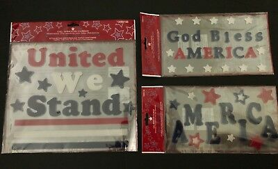 Fourth Of July Patriotic  Holiday Red White Blue Gel Window Clings- Lot of 3 NIP