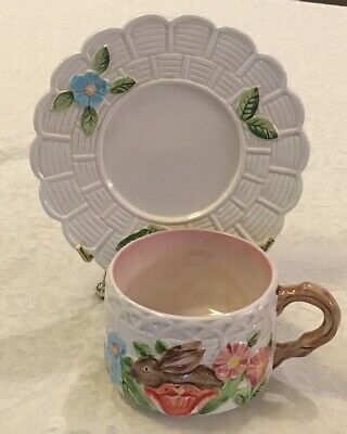 Takahashi San Francisco Ceramic Cup Saucer Bunny In Garden Hand Painted