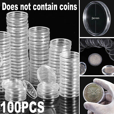 100 Direct Fit Airtight 24mm Coins Capsules Storage Holder for US Quarters Round