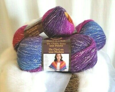 Lion Brand SHAWL IN A BALL Yarn 201 RESTFUL RAINBOW - NEW 3 Pack Same Dye Lot