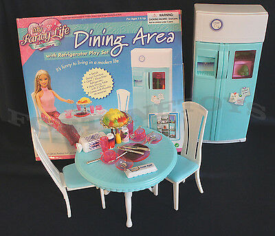 Fancy Life DOLLHOUSE FURNITURE DINING Room wRefrigerator PLAYSET FOR Dolls
