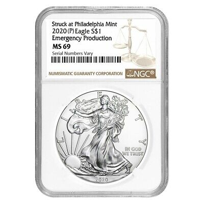 2020 P 1 oz Silver American Eagle NGC MS 69 Emergency Production