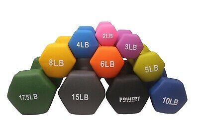 POWERT HEX Neoprene Coated Colorful Dumbbell Weight Lifting Training-One Pair