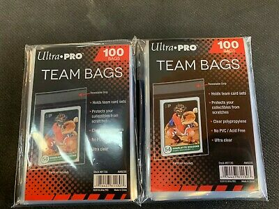 200 Ultra Pro Team Bags 2 Bags Resealable Strip Ultra Pro New Acid Free No PVC