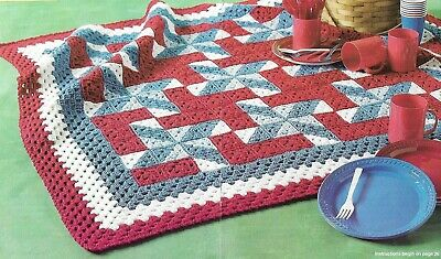 FOURTH OF JULY AFGHAN DIGEST SIZE CROCHET PATTERN INSTRUCTIONS