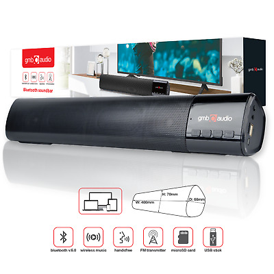 WIRELESS STEREO SOUNDBAR SPEAKERS | Built-In Microphone TV PC Smartphone Tablet