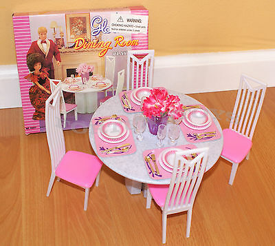 GLORIA FURNITURE DOLL HOUSE 4 CHAIRS DINING ROOM TABLE CHAIRS PLAYSET FOR BARBIE