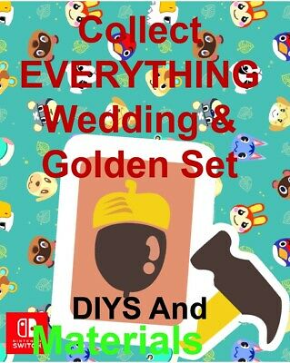 ACNH  All Golden Tools - DIYs Wedding Set 💍 AND Gold Roses Material Flowers