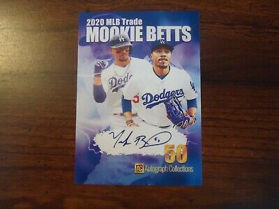 Mookie Betts 1st Ever Dodgers Card 2020 MLB Trade Facsimile Auto Collections
