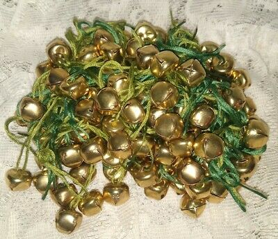 100- Small Vintage Gold Color Christmas Jingle Bells on Strings