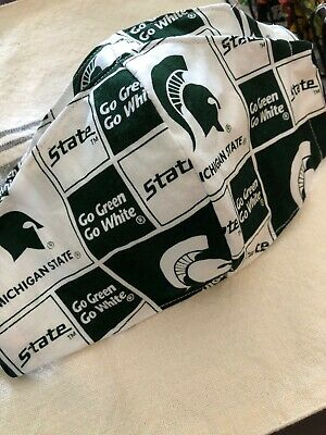 TRIPLE Layer Face Mask with filter pocket - MICHIGAN STATE - made in USA