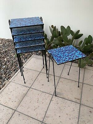 Vintage Murano Glass Tile Stacking Tables Paul McCobb Mid Century Steel