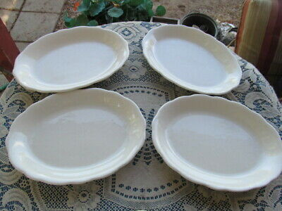 4 ULTIMA CHINA OVAL DINNER PLATES SCALLOPED WHITE RESTAURANT WARE 9 34X7