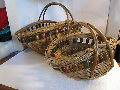 Vintage Large - Small Decorator Wicker Baskets with Wooden Beads Set of 2