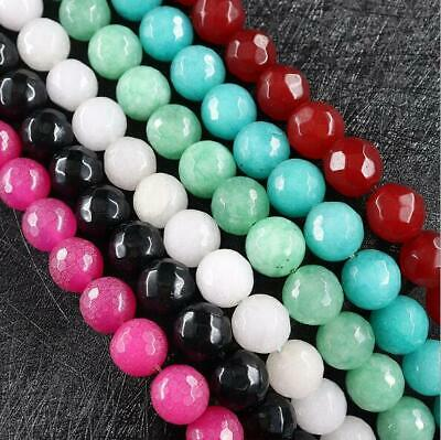 15 12mm Natural Gemstone Spacer Loose Round Faced Beads Stone DIY Jewelry