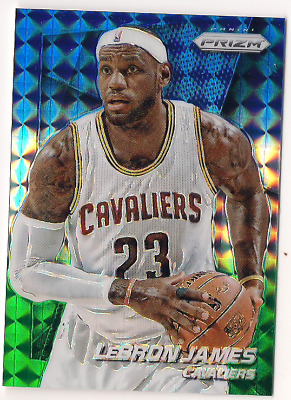 LeBron James 2014-15 Panini Prizm 48 Blue and Green Mosaic Prizms Refractor SP