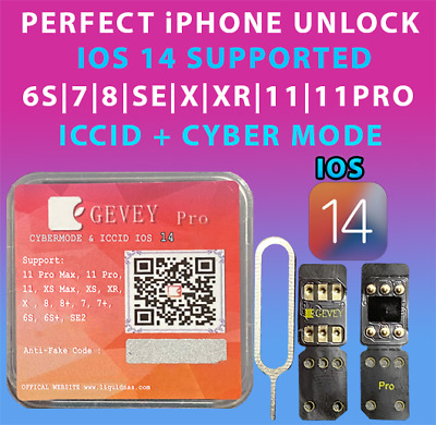 NEW Gevey Pro ICCID-MNC MODE UNLOCK SIM CARD FOR ALL IPHONES - CARRIERS IOS 14