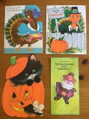 VTG Lot of 4  Halloween Thanksgiving Greeting Cards  1960's  to 1980's