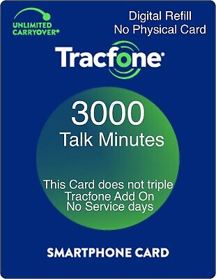 TracFone 3000 Minutes Prepaid Add On Refill Card for SmartPhone- Directly Fast-