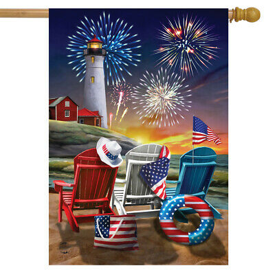 Beachfront Fireworks Fourth of July House Flag Patriotic Nautical 28 x 40