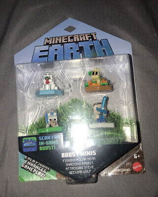 Minecraft Earth Boost Mini Fishing Polar Bear Snacking Rabit Steve - Wolf 4 Pack