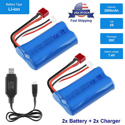 2x 2000mAh 7-4V Lipo Battery T Plug with 2x USB Charger for RC Car Truck Drone