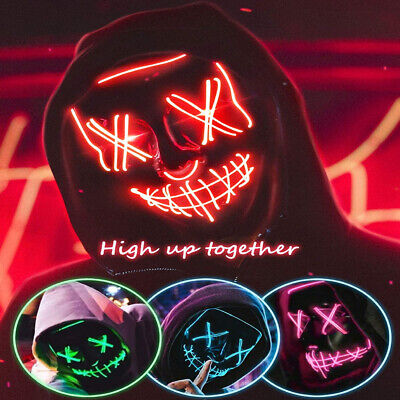 Halloween Light Up LED Mask Clubbing Costume Rave Cosplay Party Purge 3 Modes