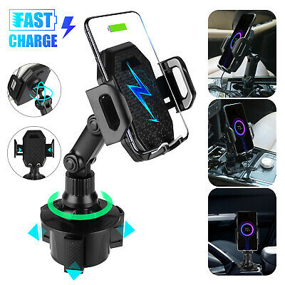 Car Cup Holder Mount Qi Wireless Charger Fast Charging Stand Dock for Cell Phone