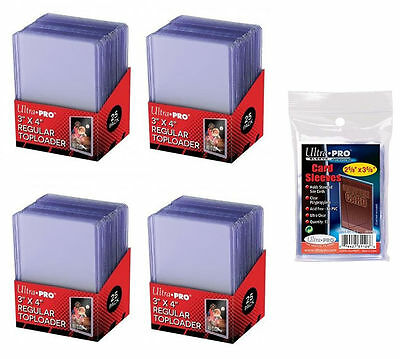 100 Ultra Pro Regular 3x4 Toploaders - 100 soft sleeves New Top loaders