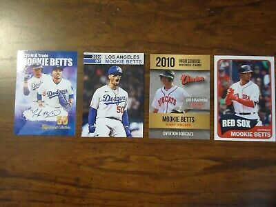 Mookie Betts 4 Card Lot 2020 Los Angeles Dodgers Star Rookie 50 Made High School