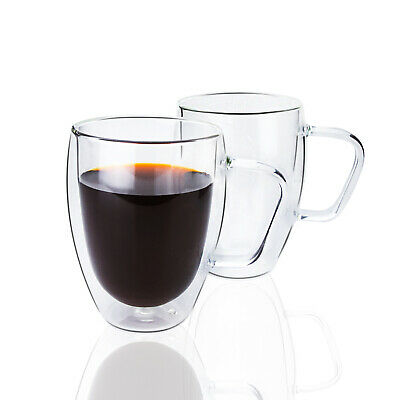 Set of 2 Double Wall Insulated Coffee Cup Mug With Handle 12 oz 350 ml Expresso