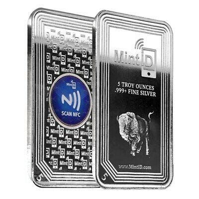 5 oz MintID Buffalo Silver Bar -999- Fine NFC Scan Authentication