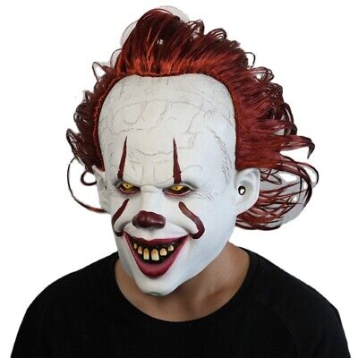 Pennywise Killer Clown IT Movie Fancy Dress Halloween Mask Latex Party Costume