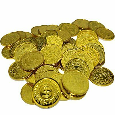 100Pcs Plastic Play Coins Gold Pirate Treasure Hunt Coins Toys for Kids Party Th