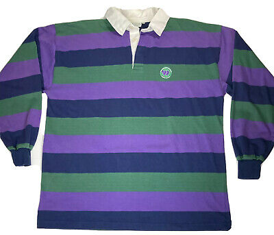 Vtg Kent - Curwen Wimbledon Tennis Colorblock Long Sleeve Rugby Style Polo XL