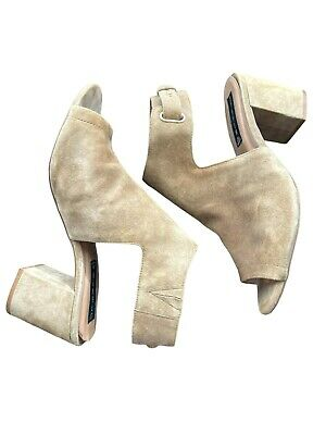 Steve Madden Tan Suede Open Toe Ankle Strap Booties Shoes 9-5 Chunky Heel