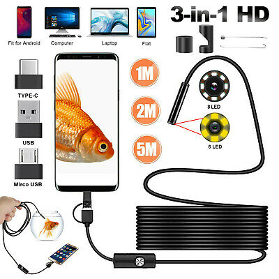 2M 6LEDs Borescope Endoscope Snake Inspection USB Camera Scope 5-5mm for Android