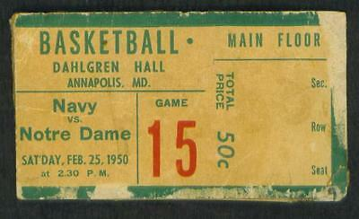 VINTAGE   1950   NAVY  VS  NOTRE  DAME   BASKETBALL   TICKET  STUB