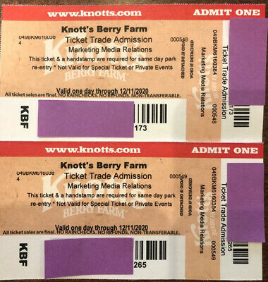 Two 2 Knott's Berry Farm Admission Tickets - Valid One Day
