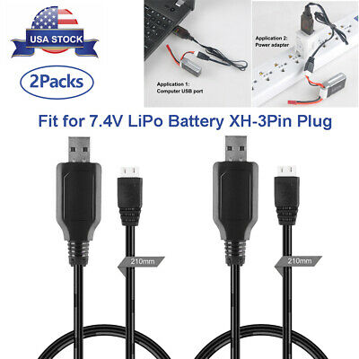 2X USB Charger Cable 1A for 2S 7-4V LiPo Battery XH-3Pin Plug RC Quadcopter FPV