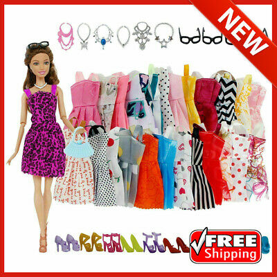 42 Pack For Barbie Doll Clothes Party Gown Outfits Shoes Glasses Necklaces Girls