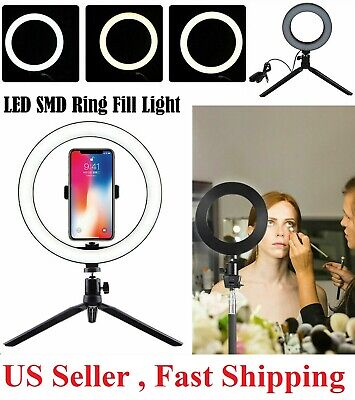 8 LED Ring Light with Tripod Stand - Phone Holder Dimmable Desk makeup Kit us