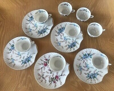 Gold rimmed floral English tea cups and biscuit plates set of 5