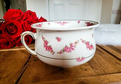 Arthur Wood Chamber Pot Made in England 1205 Roses - Gold