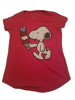 Youth Large 1012 Red Snoopy Fourth Of July Tshirt